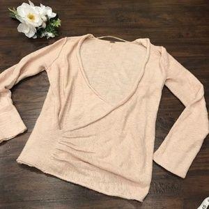 Free People | linen wrap style cream sweater open